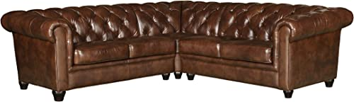 Abbyson Living Traditional Premium Top Grain Leather 3-Piece Sectional Sofa, Camel