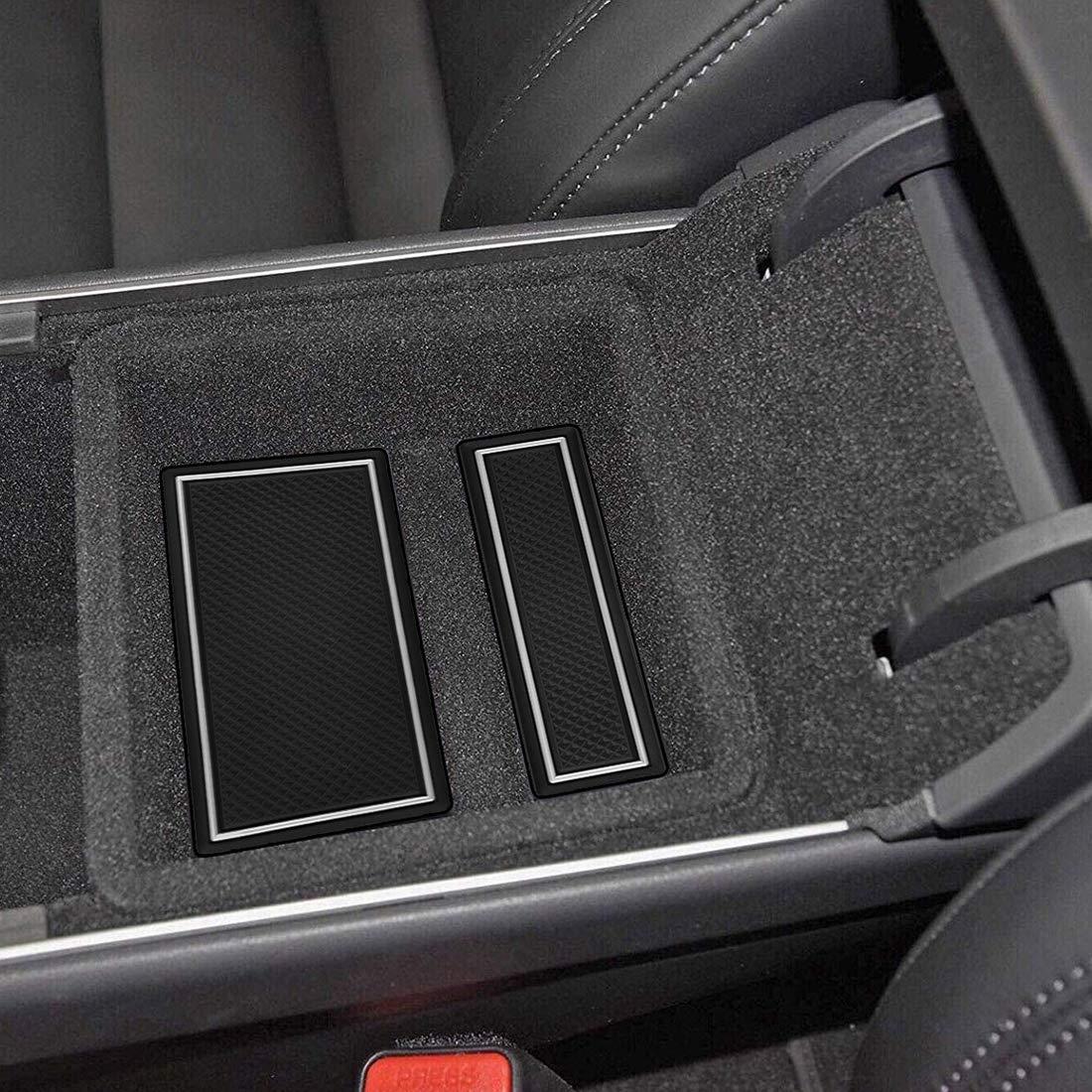 borde blanco Accesorios BougeRV Tesla Modelo 3 Accesorios de taza de ajuste personalizado y revestimientos centrales