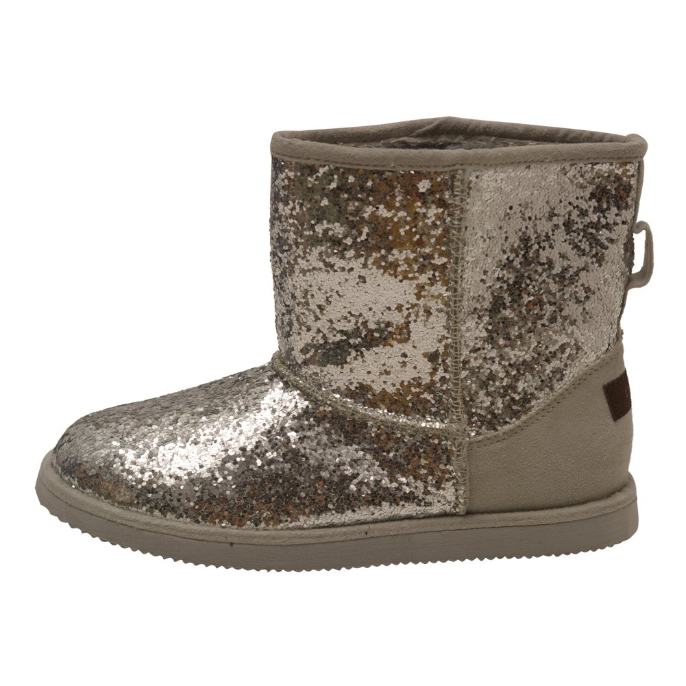 L'Amour Girls Silver Glitter Faux Lined Suede Detail Boots 4 Kids