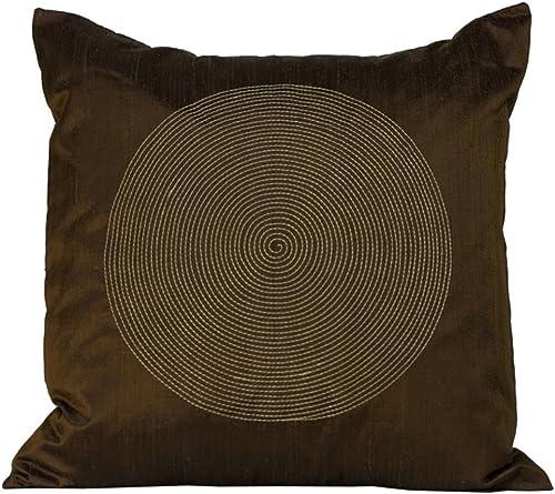Jiti Spiral Throw Pillow, Silk, 20-Inch Square, Chocolate
