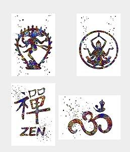 Wall Decor Art Nataraja Shiva Ohm Zen Watercolor Poster Prints Set of 4 Size A4 (21cm x 29cm) Unframed for Yoga Lovers