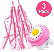 kortes 1 Pack Kids Bike Bell and 2 Pack Kids Bike Streamers for Children's Bike Accessories (Pink, Red,& Blue)