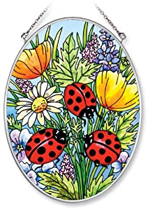 Amia 5511 Medium Oval Suncatcher with Ladybug and Flower Design, Hand-painted Glass, 5-1/2-Inch W by 7-Inch L