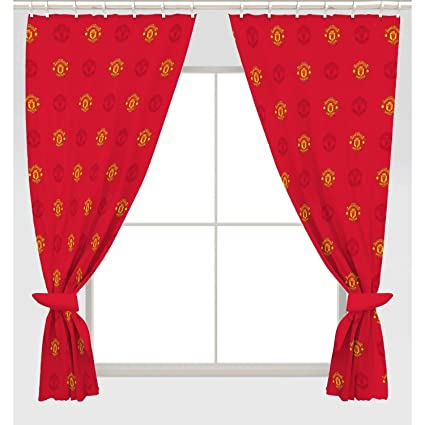 Amazon Com Manchester United Fc Official Repeat Crest Curtains One