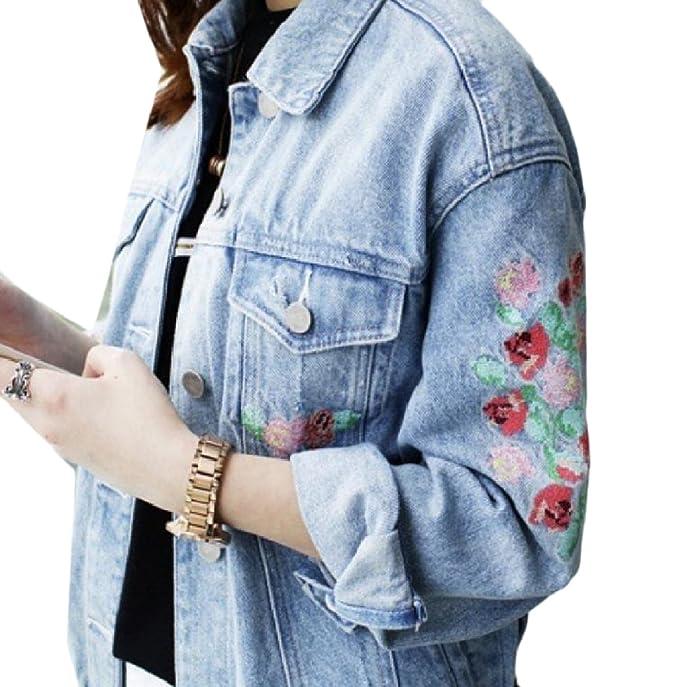 ed96b81e7e29 Abetteric Womens Denim Long-Sleeved Cozy Lapel Embroidery Cardigan Coats  Light Blue XS