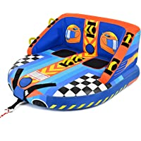 XGEAR Towable Tube for 1-2 Rider, Front and Back Tow Points for Boating, Blue