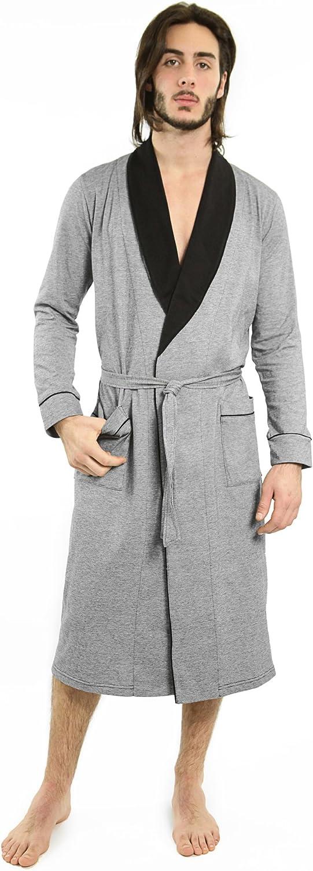 Yugo Sport Mens Robe - Cotton Robes for Men Knit Lightweight - Kimono Wrap Men's Bathrobe