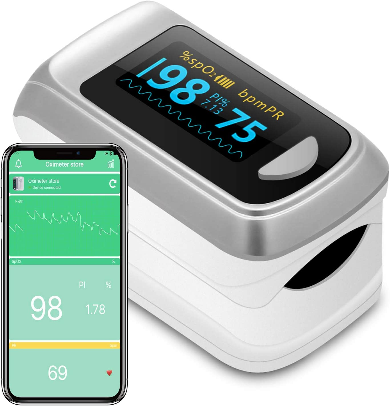 Bluetooth Fingertip Pulse Oximeter Oximetry Blood Oxygen Saturation Monitor and Pulse Rate Monitor for Apple and Android