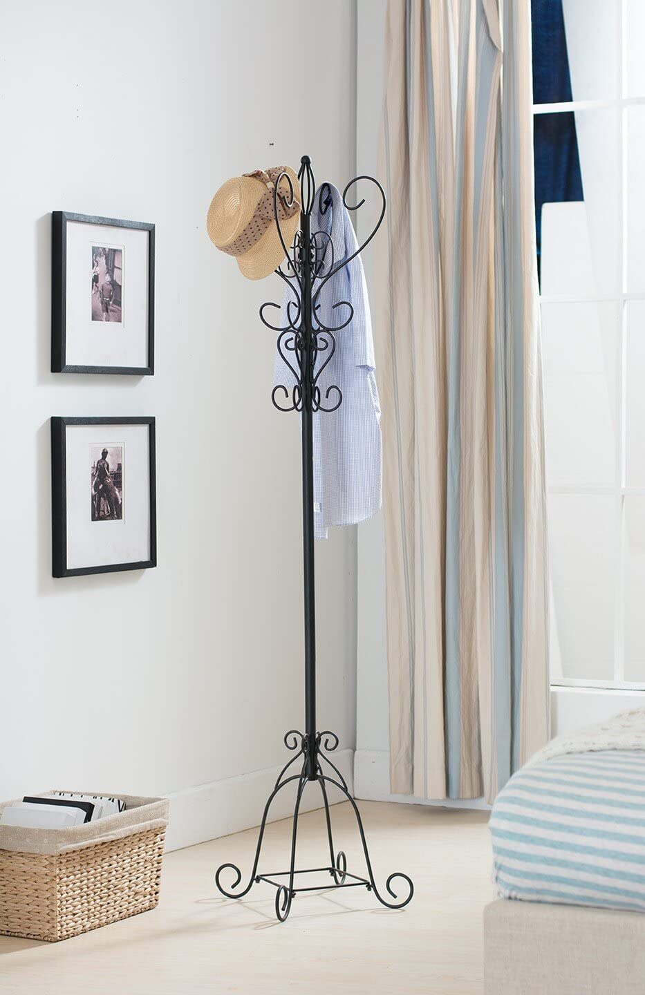 Kings Brand Texture Black Metal Coat Rack Hat Stand With Umbrella Holder