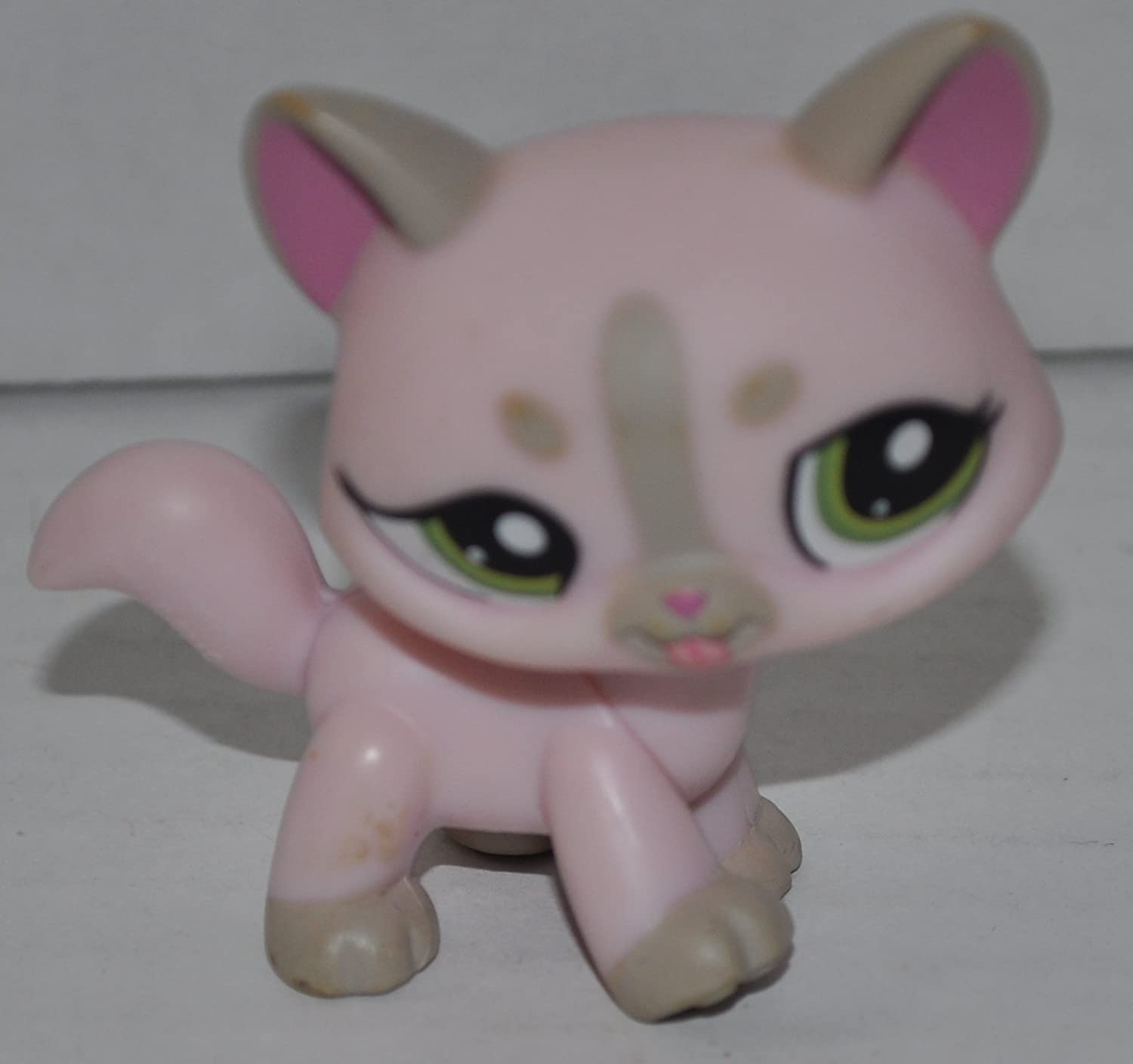 LPS Collectible Replacement Single Figure Retired OOP Out of Package /& Print - Littlest Pet Shop Loose Collector Toy Shorthair Kitten #1326 Puff Tail: Pink, Green Eyes