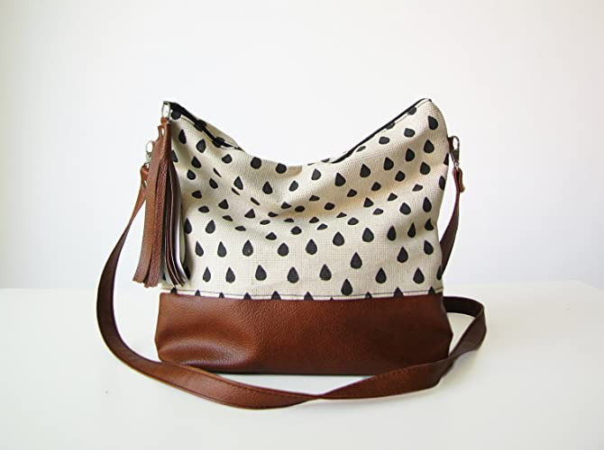 9474bb23a68c Raindrops Boho bag, Crossbody bag, Canvas and Vegan Leather, Slouchy ...