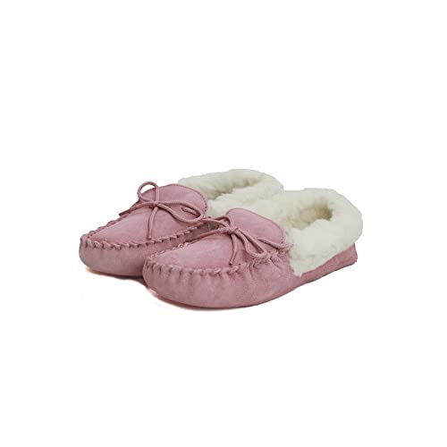 Eastern Counties Leather - Mocasines con Forro de Lana y Suela Blanda para Mujer (36