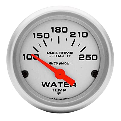 Auto Meter 4337 Ultra-Lite Electric Water Temperature Gauge, Silver: Automotive