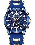 [メガリス]MEGALITH 腕時計 メンズ時計シリコン クロノグラフ防水ウオッチルミナス夜光 多針アナログクオーツスポーツ腕時計 日付表示 ラグジュアリー おしゃれ ビジネス カジュアル 男性腕時計