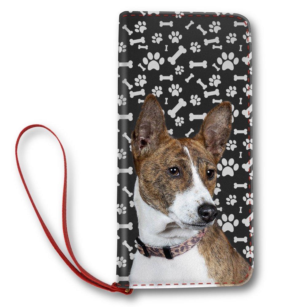 Basenji Dog Paw Pattern, Women Leather Long Clutch Wallet Purse Card Holder