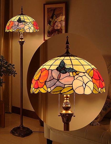 Purki Luces Tiffany, lámpara de pie Retro, luz de Lectura de ...