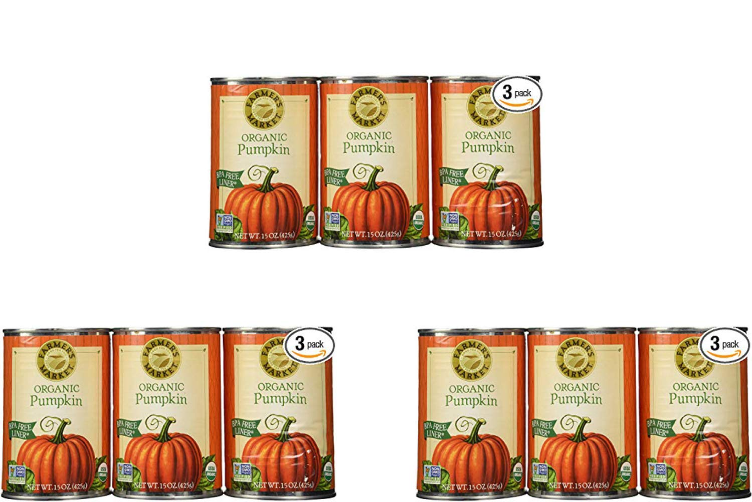 Farmers Market Pumpkin Puree 100% Organic 3 Count-15oz (3 Pack)