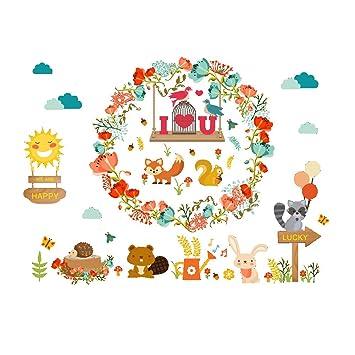 Amazon Com Cartoon Lovely Animal Flower Garland Floral Hoop Wall
