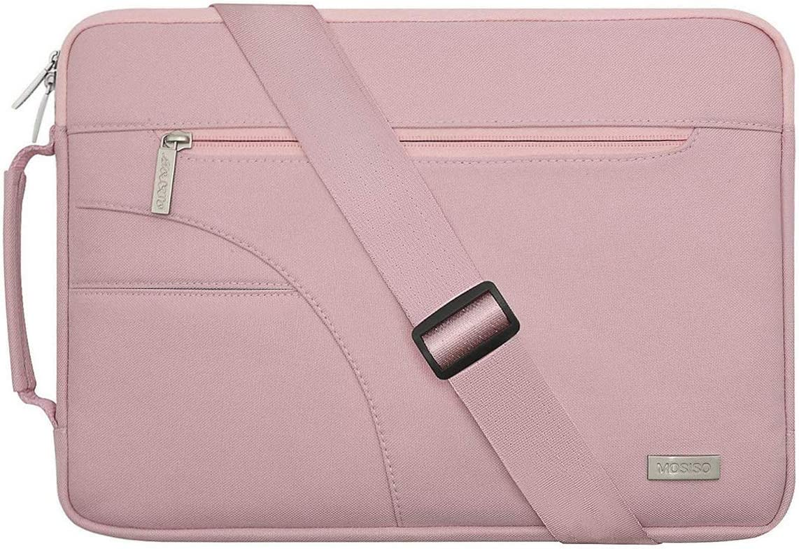 MOSISO Laptop Shoulder Bag Compatible with 15 inch MacBook Pro Touch Bar A1990 A1707 2019 2018 2017 2016, 14 inch Notebook Computer, Polyester Briefcase Sleeve with Side Handle, Pink
