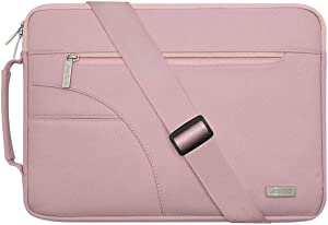 MOSISO Laptop Shoulder Bag Compatible with 13-13.3 inch MacBook Pro, MacBook Air, Notebook Computer, Polyester Briefcase Sleeve with Side Handle, Pink