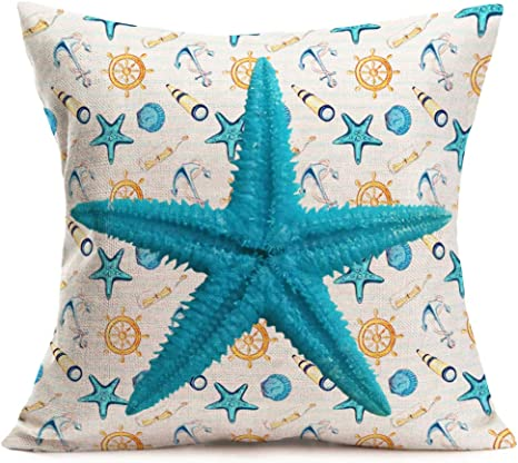 Seaside Theme Beach Throw Pillow Decor Home Glitter New Home Gift Nautical Handmade Beach Life Cushion