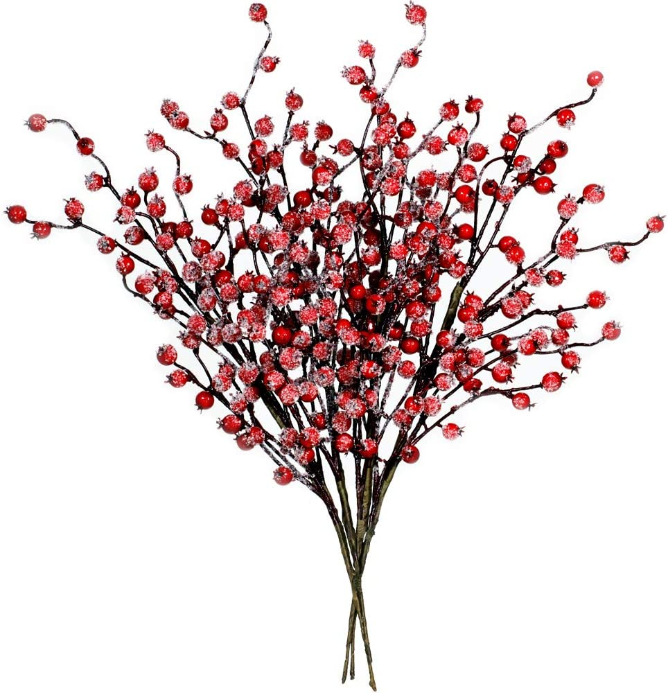 4 Pack Icy Red Berry Picks Artificial Christmas Berry Spray Iced Berry Stems Red Berry Twig Branches For Christmas Holiday Winter Floral Arrangement Centerpiece Seasonal Decoration 18 8 Tall Home Kitchen