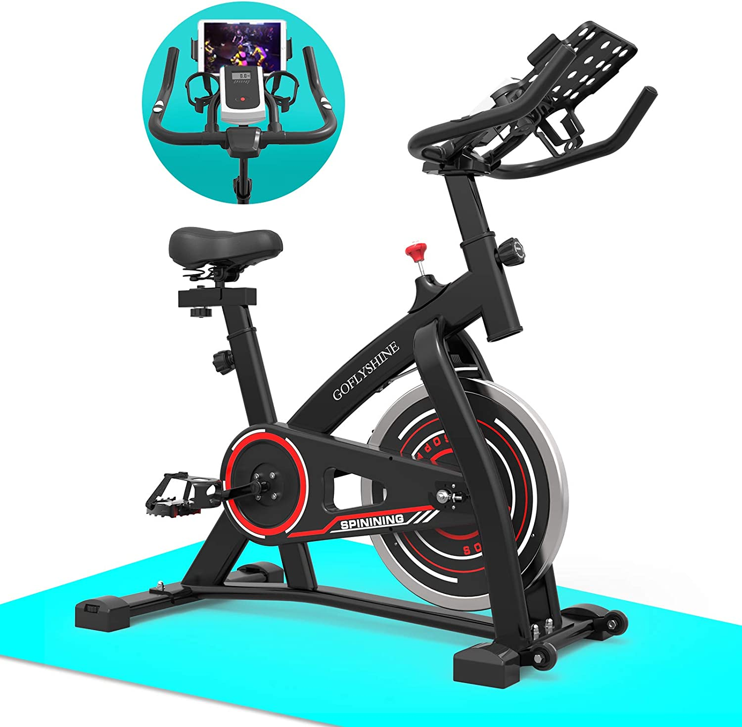 GOFLYSHINE Exercise Bike, Indoor Cycling Bike Stationary Bikes, Spin Bike for Home Cardio Bike, Workout Bike with 35 LBS Flywheel
