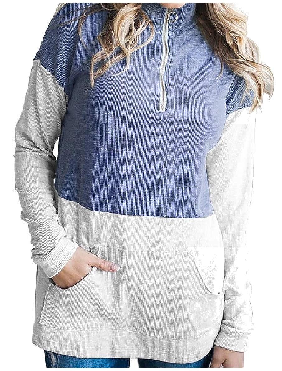 Zimaes-Women Turtleneck Zips Contrast Splicing Casual Pocketed Sweatshirts