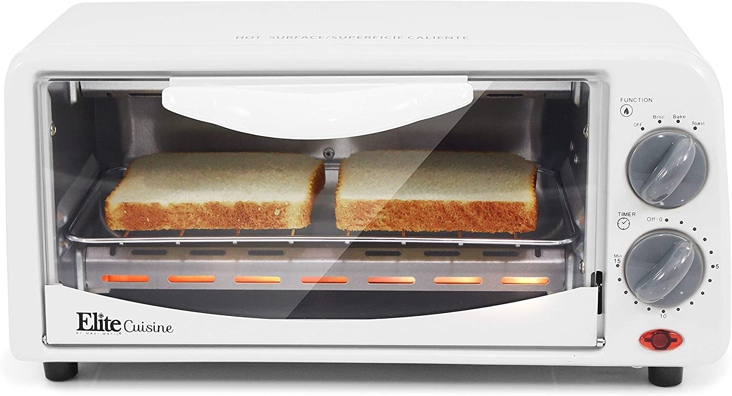 Elite Gourmet Personal 2 Slice Countertop 15 Minute Timer Toaster Oven, Broil, Toast, ETO-224 (Renewed)