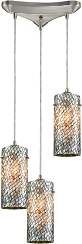 Elk Lighting 10447 3 Pendant Light, Satin Nickel