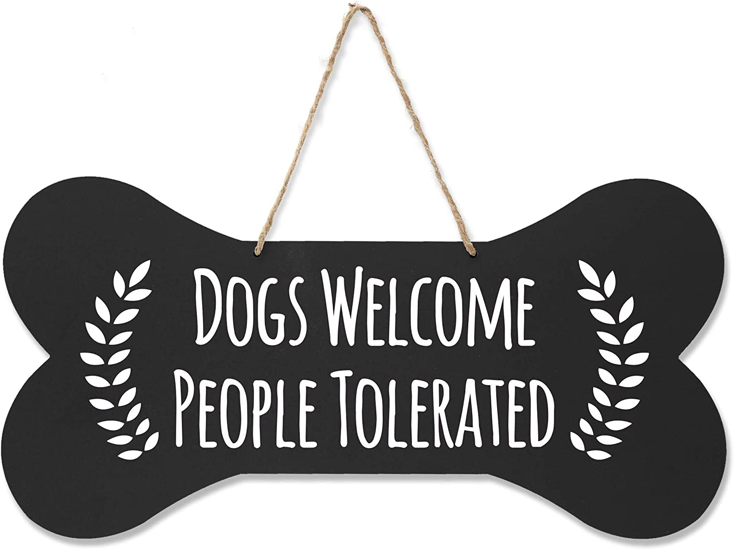 """LifeSong Milestones Pet Quote Dog Bone Wall Hanging Sign, Dog Lovers Gifts for Women, Dog Owner Gift for Home Decor, 8"""" x 16"""" (Black Dogs Welcome)"""