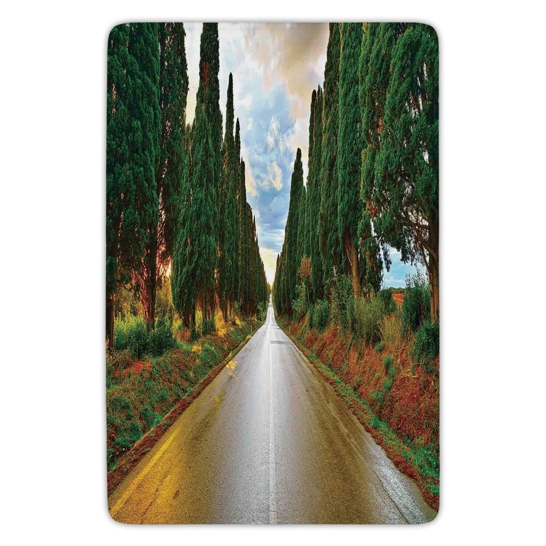 Bathroom Bath Rug Kitchen Floor Mat Carpet,Tuscan Decor,Large Boulevard with Trees in Old European Village Country Life Destination Artistic Photo,Multi,Flannel Microfiber Non-slip Soft Absorbent