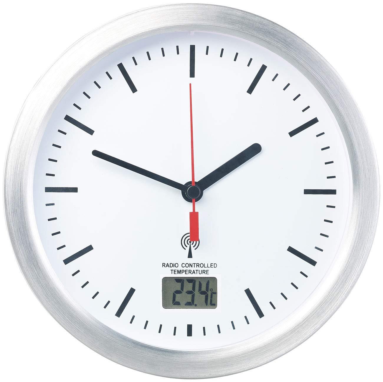 Leonhard Baduhr: Badezimmer-Wanduhr mit LCD-Thermometer und