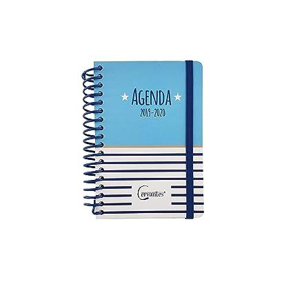 Agenda Escolar 2019-2020 formato pequeño (120x160 mm) español (Azul Estrella Blanca)