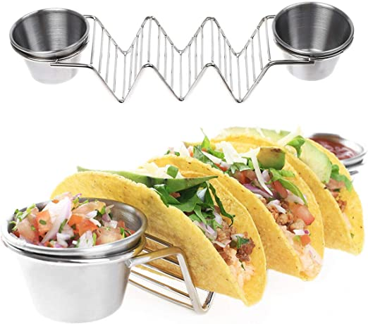 Stainless Steel Rack for Tacos or Tortillas 2 Sauce Cups Stand Up Taco Holder
