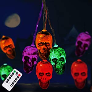 Halloween Decorations 30LEDs Spooky Lights, Halloween Skeleton Skull String Lights Battery Operated for Halloween Party, Haunted House Creating Horror Decoration (Multi)
