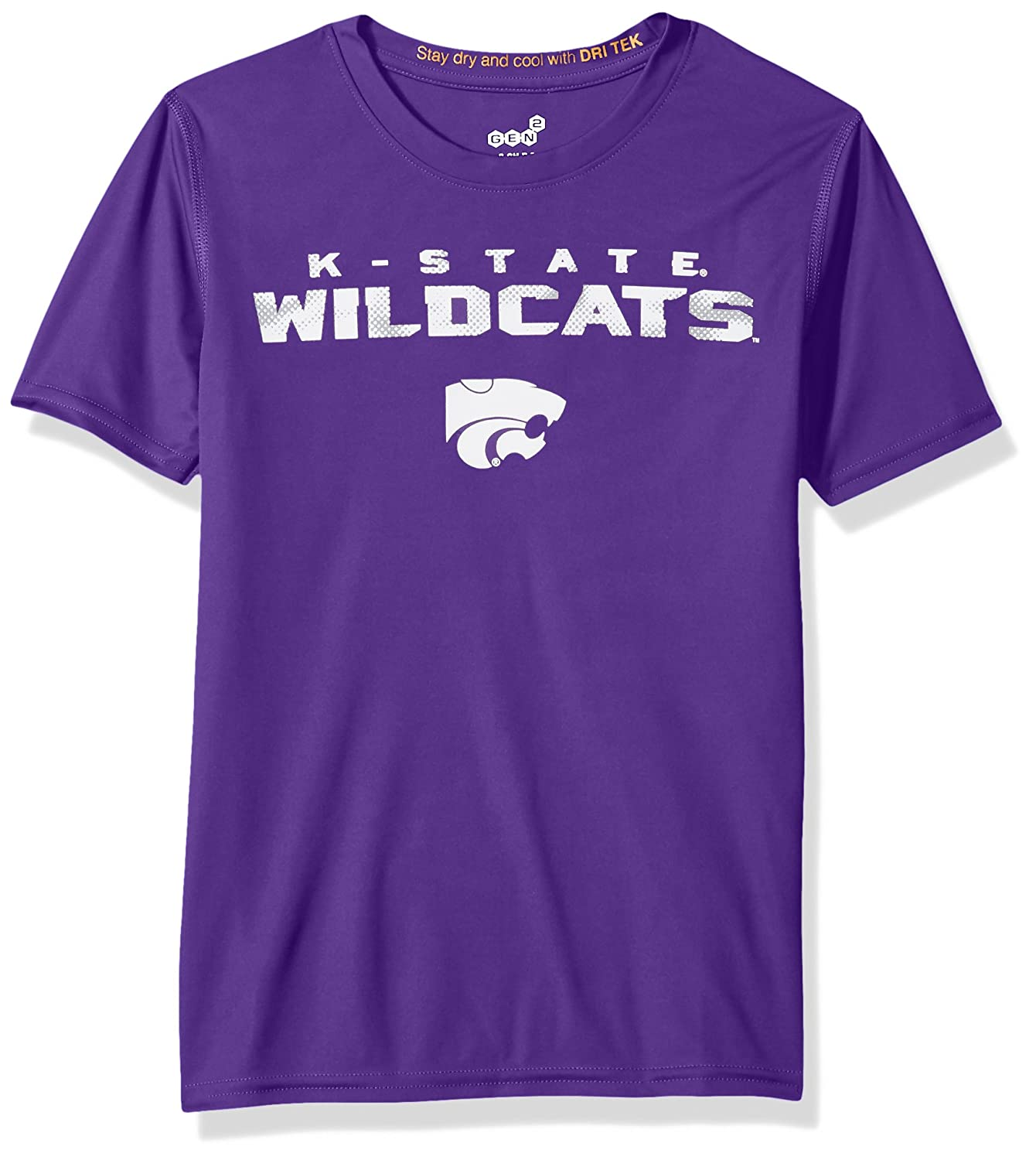 18 Youth X-Large Regal Purple NCAA by Outerstuff NCAA Kansas State Wildcats Youth Boys Nebula Dri-Tek Short Sleeve Tee