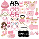 Baby Shower Decorations, PBPBOX 33Pcs Pink and Gold Girls Baby Shower Photo Booth Props Party Favors Supplies