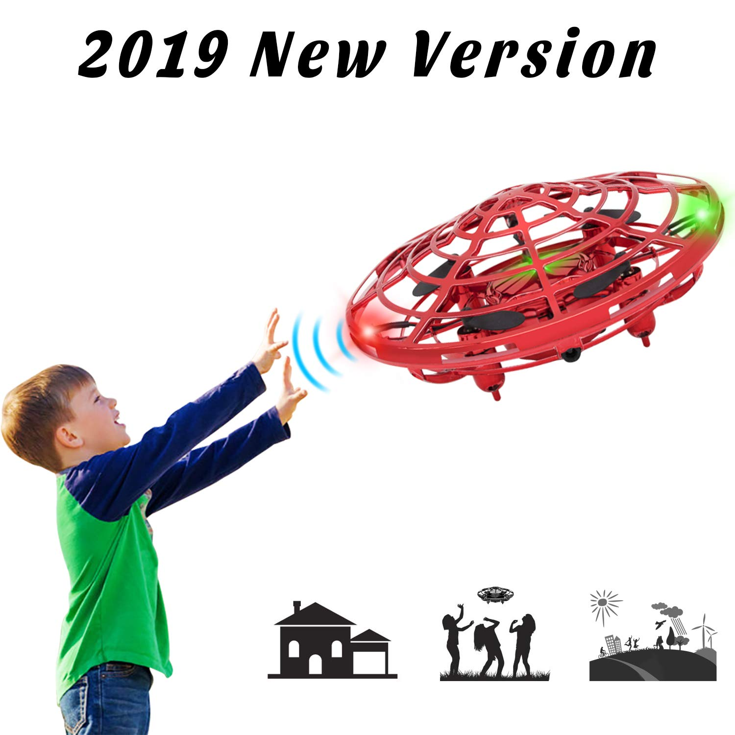 XBUTY Flying Ball Toysfor Kids, 360° Rotating Quadcopter with LED Lights, Hand Operated Mini Drone Helicopter for Boys and Girls (Red) by XBUTY
