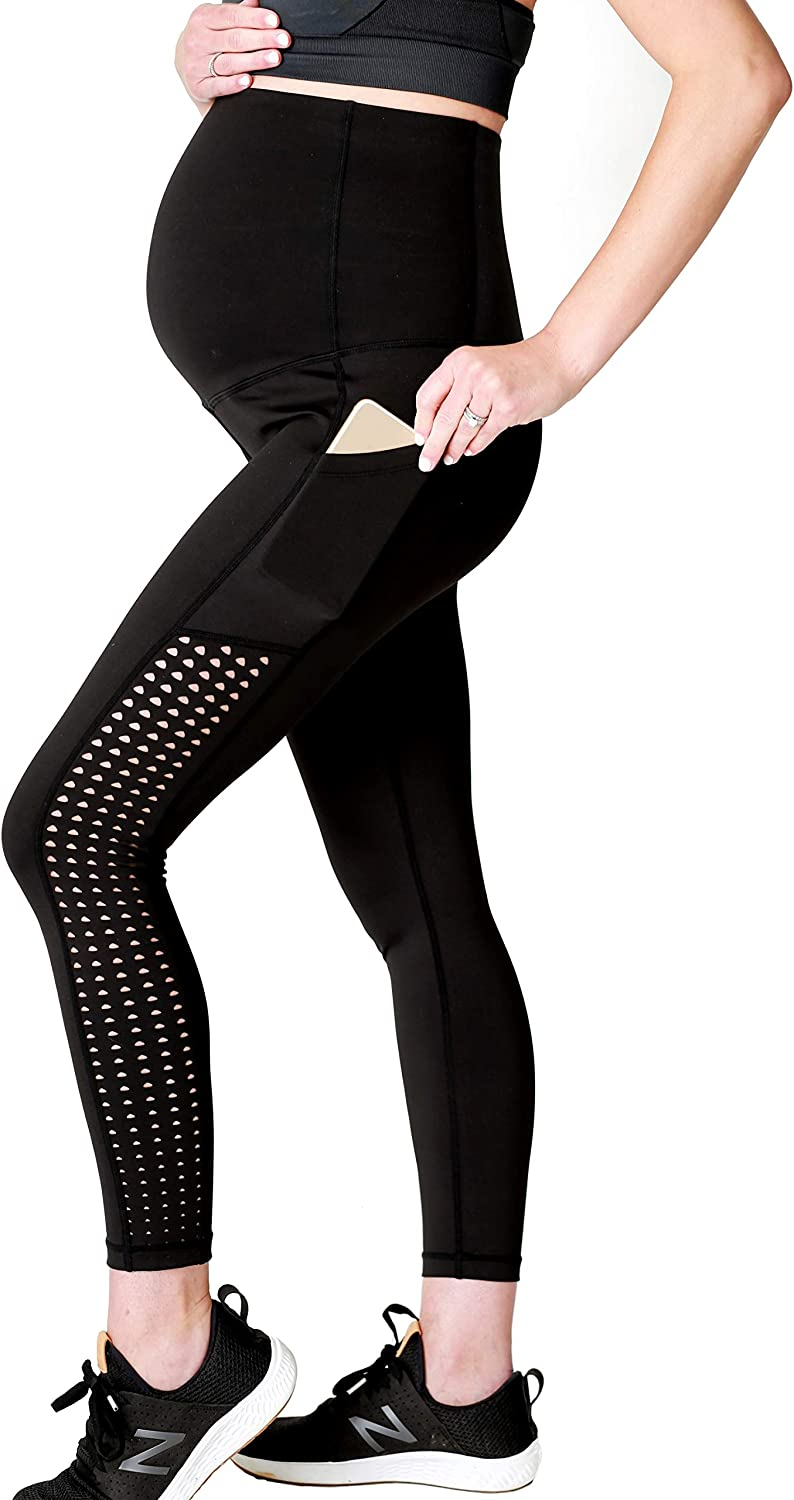 Movemama Women's Active Maternity Leggings with Laser Cut Detail