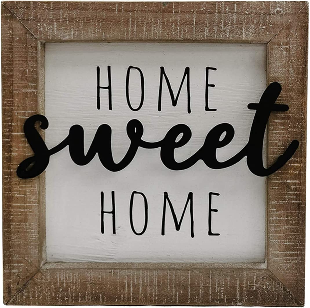 NITYNP Home Sweet Home Iron Cutout Word Wood Framed Block Sign 8 x 8 inches