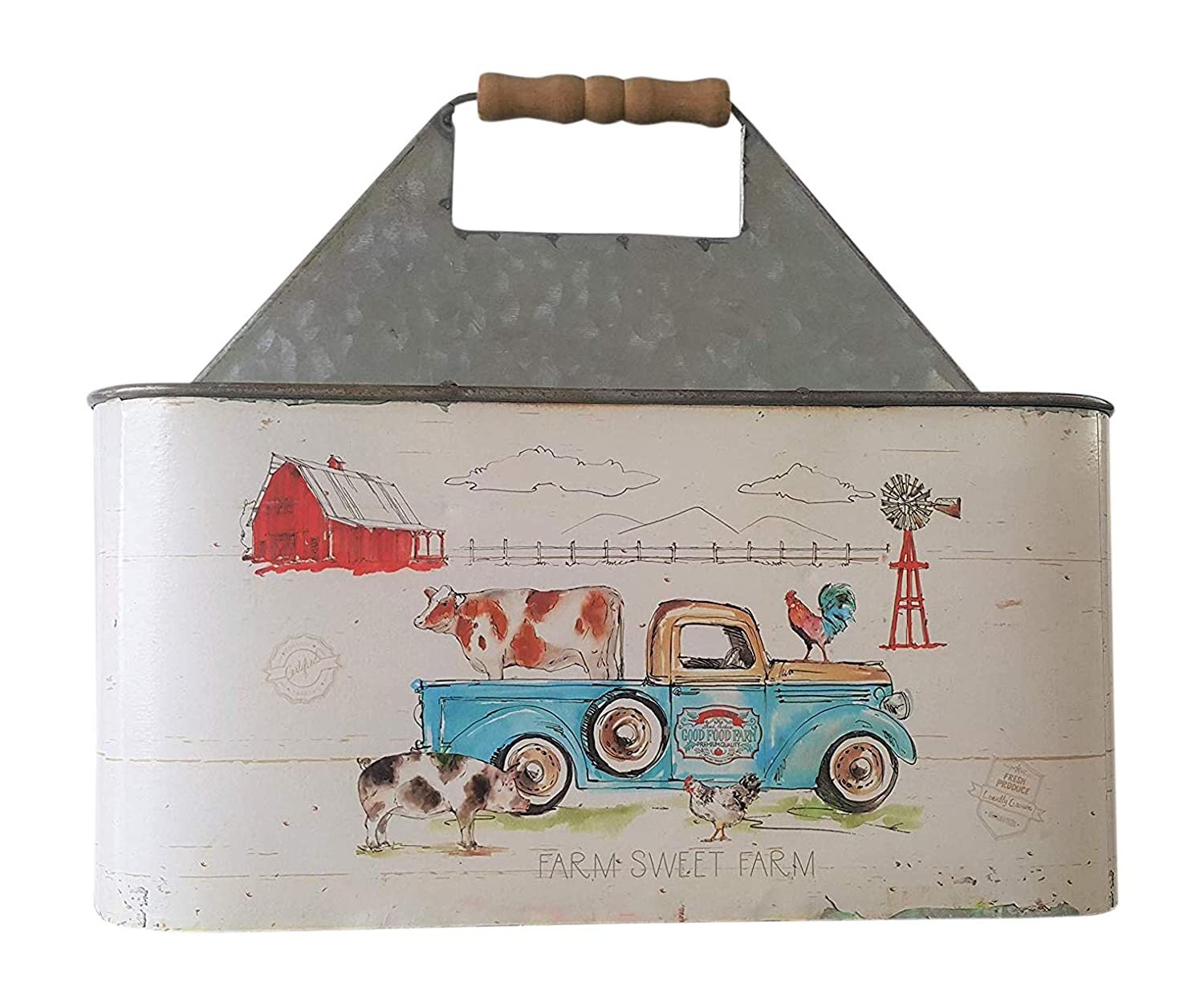 Farmhouse Style Utensil Caddy Vintage Pickup Truck Display Cow Windmill Barnyard Country Storage