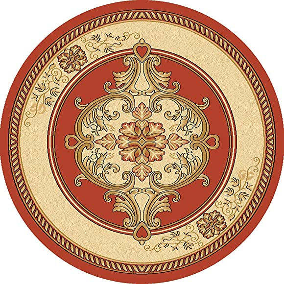 PlanetRugs Glamour Design 206 3D Hand Carved Traditional Rug Oriental Floral 5 3 x5 3 Round Terracotta Beige