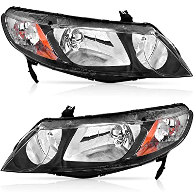 Compatible for 2006-2011 Honda Civic Sedan 4 Door Headlights Assembly OEDRO (Dx, EX, EXS, GX, LX, LXS,Si) Black Housing Amber Reflector Clear Lens Headlamp, 2-Yr Warranty: Automotive