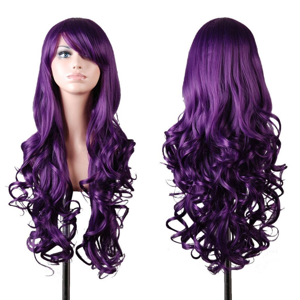 EmaxDesign Wigs 32 Inch Cosplay Wig For Women With Wig Cap and Comb Dark Purple
