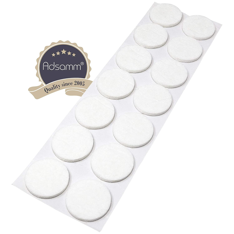 con grosor de 3,5 mm de la m/áxima calidad 14 x almohadillas de fieltro blanco /Ø 32 mm redondo Adsamm/® auto-adhesivos Protectores de suelo para patas de mueble