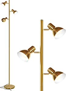 Brightech Ethan - LED Tree Floor Lamp for Mid Century, Modern, Contemporary and Industrial Decor - 3 Light Standing Pole Lamp- Tall Light for Living Room, Bedroom, and Office - Brass