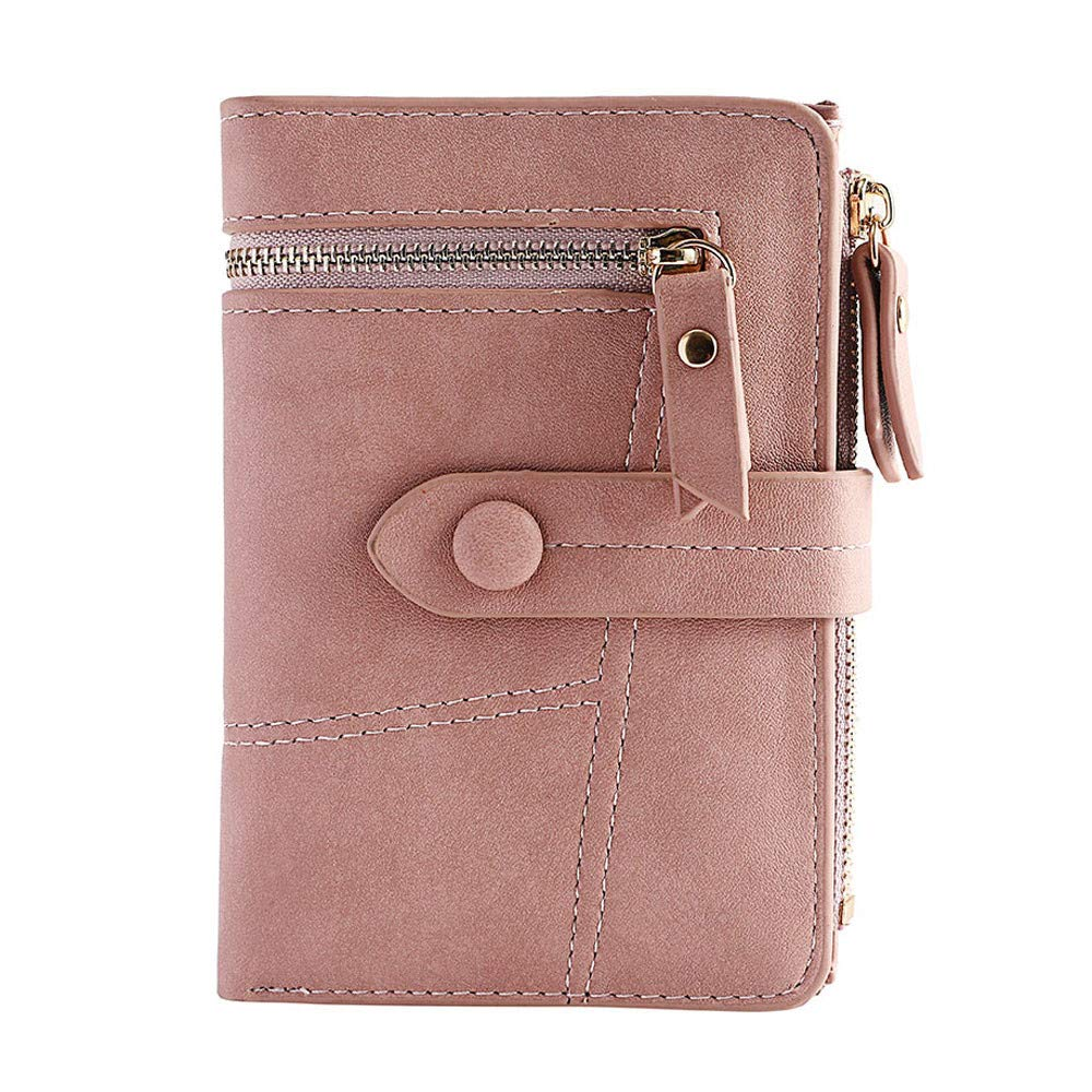Clearance!Women Simple Retro Zipper Short Wallet Coin Purse Card Holders Handbag Card Holder Coin Purse (Pink)