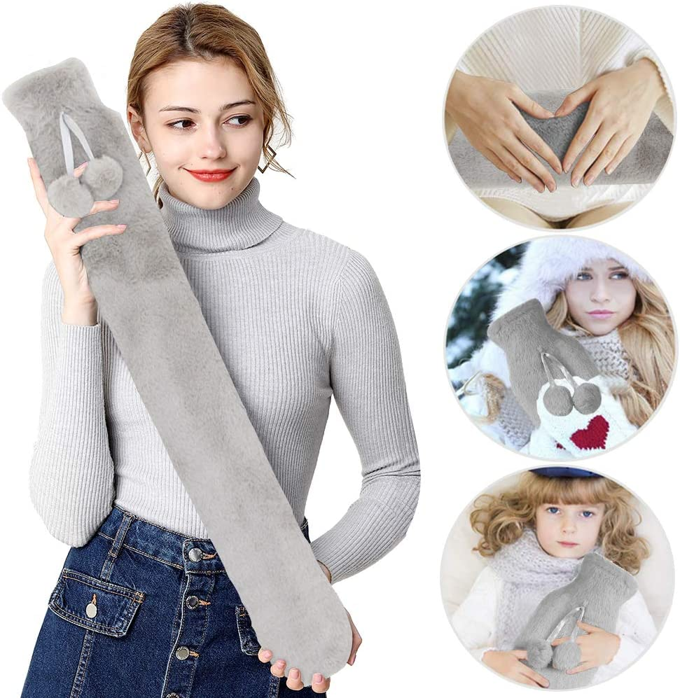 AIFENTE Long Hot Water Bottle- Hot Water Bag with Super Soft Fabric Knitted Cover 2L Pure Natural Rubber-72 cm for Back, Neck, Legs Hot Water Bottle Cover Warm Water Bag