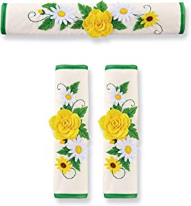 Floral Refrigerator & Oven Kitchen Appliance Handle Covers - Set of 3 - Polyester, Cotton - For Door Handles - Decorative Home Decor